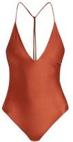 JADE SWIM Vertical Back V-neck Swimsuit - Womens - Dark Red