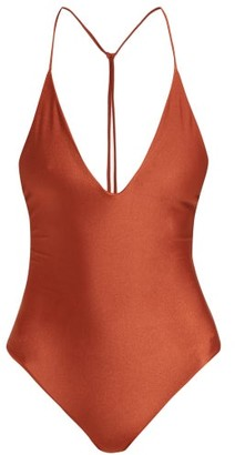 JADE SWIM All In One T-back Swimsuit - Womens - Dark Red