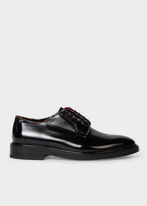 Paul Smith Women's Black High-Shine Leather 'Turner' Derby Shoes With Stripe Trims