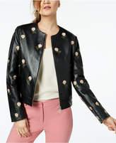 Marella Chimono Embroidered Leather Jacket