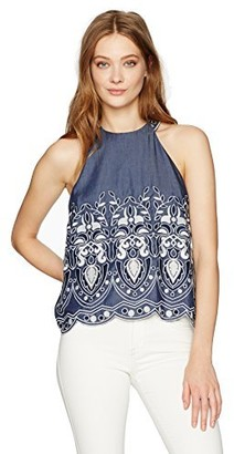 J.o.a. Women's Embroidered Halter Neck Top