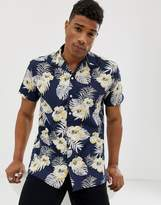 Jack and Jones Originals revere collar shirt with all over print in navy