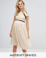 Little Mistress Maternity Short Sleeve 2 In 1 Lace Skater Dress With Contrast Skirt