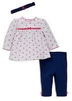Little Me Girls' Heart Stripe Tunic, Leggings & Headband Set - Baby