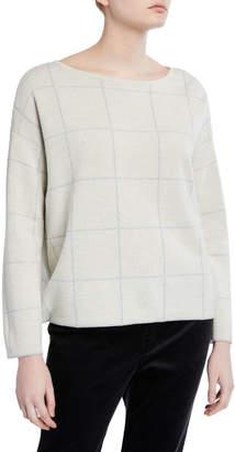 Eileen Fisher Petite Windowpane Merino Wool Bateau-Neck Sweater
