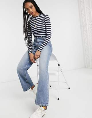 Monki Samina organic cotton long sleeve stripe top in black and white-Blue