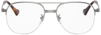 Gucci Silver Aviator Glasses
