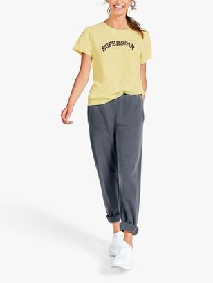 Hush Superstar Slogan Crew Neck T-Shirt, Pale Yellow
