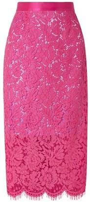 Michael Lo Sordo Silk Corded Lace Midi Pencil Skirt