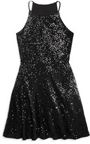 Aqua Girls' Sequined Skater Dress - Sizes S-XL