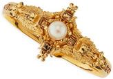 Alexander McQueen Pearl & Skull Cross Bracelet