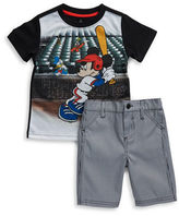 Nannette Baby Boys Mickey Baseball Tee and Striped Shorts Set