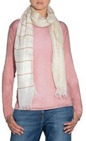 Eleventy Striped Fringed-End Scarf