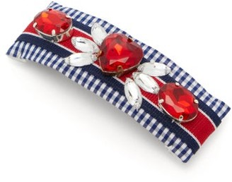 Benoit Missolin Lucia Crystal-embellished Gingham Hair Clip - Blue Multi