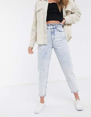 Miss Selfridge mom jeans with frill top in light acid wash