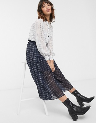French Connection mixed check print midi shirt dress-White
