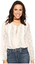 Lucky Brand Lace-Up Metallic Top Women's Blouse