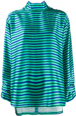 Jejia Striped Back-Button Top