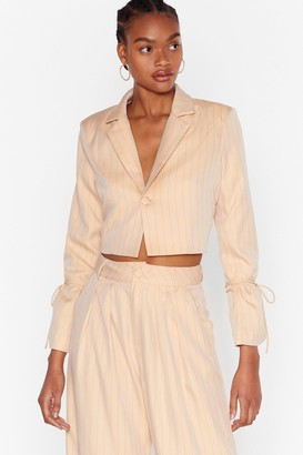 Nasty Gal Womens Dressed to the Lines Cropped Pinstripe Blazer - Beige - 10