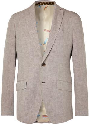 Etro Beige Slim-Fit Linen Suit Jacket