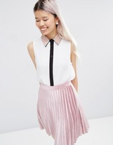 Asos Sleeveless Blouse with Embellished Collar & Contrast Placket