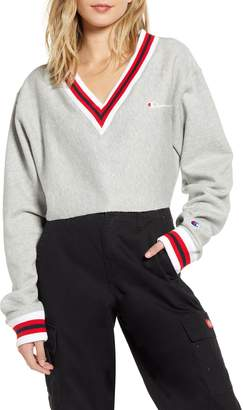 Champion Yarn Dye Stripe Trim Reverse Weave® Crop Sweatshirt