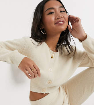 Asos DESIGN Petite co-ord fluffy fine cardigan-Cream