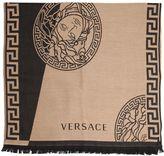 Versace Two Tone Fine Wool Jacquard Knit Scarf