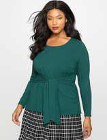 ELOQUII Plus Size Tie Waist Knit Top