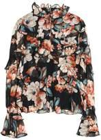 Nicholas Ruffled Floral-Print Silk-Chiffon Blouse