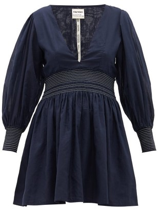 MISA Escvdo V-neck Cotton Mini Dress - Womens - Navy