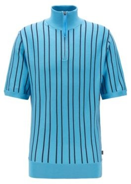 HUGO BOSS Short Sleeved Zip Neck Sweater In Striped Cotton - Turquoise
