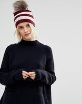 Alice Hannah Seed Stitch Stripe with Fur Trim Beanie