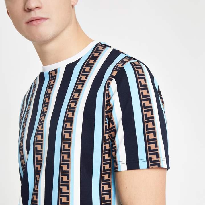 River Island Mens Blue stripe slim fit T-shirt