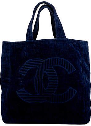 One Kings Lane Vintage Chanel Navy Terrycloth Beach Bag - Vintage Lux