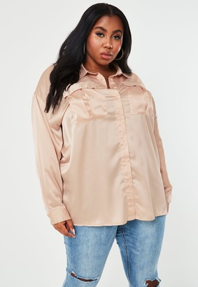 Missguided Plus Size Champagne Satin Extreme Oversized Shirt