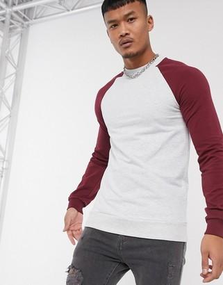 ASOS DESIGN muscle sweatshirt in white marl with burgundy raglan sleeves