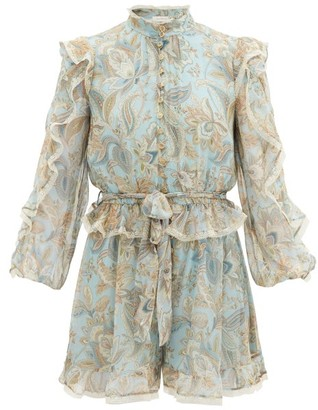 Zimmermann Ladybeetle Ruffled Paisley-print Silk Playsuit - Blue Multi
