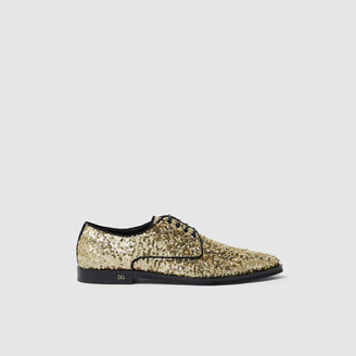 Dolce & Gabbana Gold Glittering Point-Toe Lace-Up Loafers Size IT 37