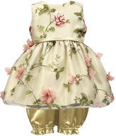 Jayne Copeland Ivory Floral Mesh Dress - Infant