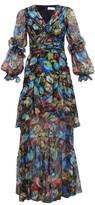 Peter Pilotto Iridescent Floral-print Silk-blend Dress - Womens - Navy Multi