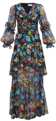 Peter Pilotto Iridescent Floral-print Silk-blend Dress - Navy Multi