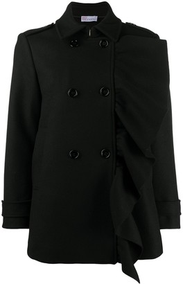 RED Valentino Ruffled Wool-Blend Peacoat