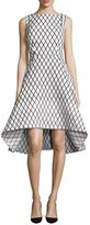 Rachel Gilbert Aria Sleeveless Diamond-Print High-Low Dress, Black/White