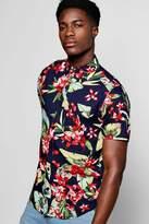 boohoo Short Sleeve Floral Shirt navy