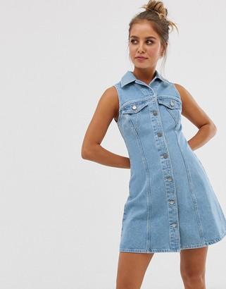 Asos Design DESIGN denim sleevless skater shirt dress
