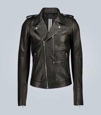 Rick Owens Slim-fit leather biker jacket