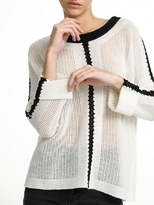 White + Warren Cashmere Crochet Mesh Crewneck