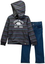Lucky Brand Striped Pullover Hoodie Jean Set (Little Boys)