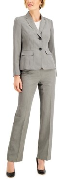 Le Suit Petite Herringbone-Striped Button-Front Pant Suit